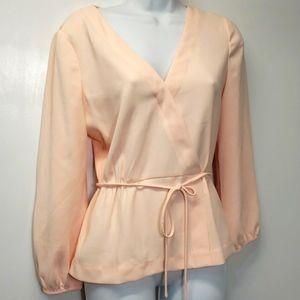J Crew pink polyester wrap blouse sz 4